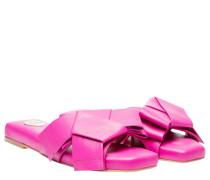 Pantoletten aus Leder in Fuchsia/Violett/Rosa