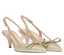 Pumps aus Leder in Gold/Gelb