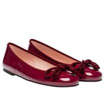 Ballerina aus Leder in Bordeaux/Rosa/Rot/Violett