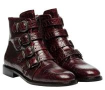 Stiefel aus Leder in Bordeaux/Rosa/Rot/Violett
