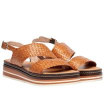 Sandalen aus Leder in Cognac/Braun/Orange