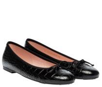 Ballerina aus Leder in Schwarz