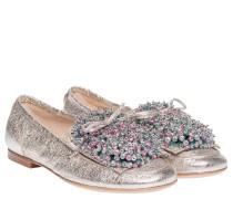 Loafer aus Leder in Platin/Silber/Grau