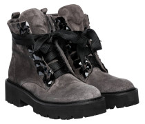 Stiefel aus Leder in Hellgrau/Grau