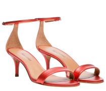 Sandalen aus Leder in Hellrot/Rot