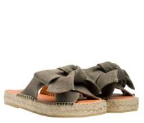 Sandalen aus Leder in Khaki/Grün