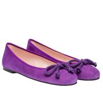 Ballerina aus Leder in Lila/Violett