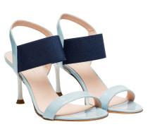 Sandalen aus Leder in Hellblau/Blau