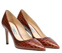 Pumps aus Leder in Cognac/Braun/Orange