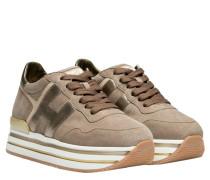 Sneaker aus Leder in Taupe/Schlamm/Braun/Grau