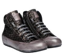 Sneaker aus Leder in Anthrazit/Grau