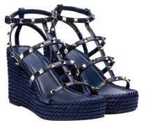 Sandalen aus Leder in Blau
