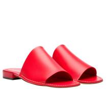 Mules aus Leder in Rot