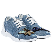 Sneaker aus Leder in Indigo/Jeans/Blau