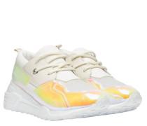 Sneaker aus Leder in Wollweiß/Weiß