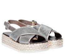 Espadrilles aus Leder in Silber