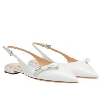 Ballerina aus Leder in Weiß
