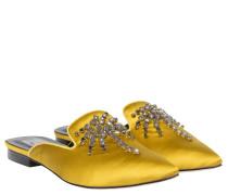 Mules aus Leder in Gelb