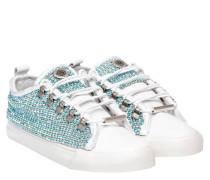 Sneaker aus Leder in Hellblau/Blau