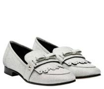 Loafer aus Leder in Silber