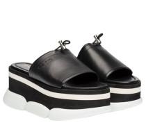 Sandalen aus Leder in Schwarz/Weiß