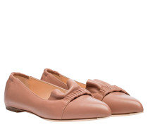 Loafer aus Leder in Nude/Beige/Weiß/Rosa
