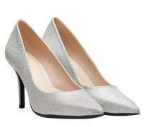 Pumps aus Leder in Platin/Silber/Grau