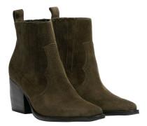 Stiefel aus Leder in Oliv/OlivGrün/Grün