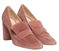 Pumps aus Leder in Altrosa/Rosa