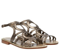 Sandalen aus Leder in Platin/Silber/Grau