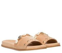 Sandalen aus Leder in Camel/Braun/Orange