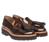 Loafer aus Leder in Bronze/Braun/Grau/Orange