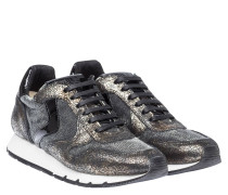 Sneaker aus Leder in Schwarz/Grau