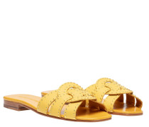 Pantoletten aus Leder in Gelb