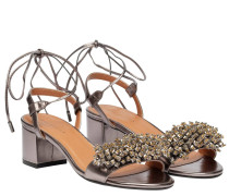 Sandalen aus Leder in Bronze/Braun/Grau/Orange