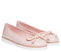 Ballerina aus Leder in Nude/Beige/Weiß/Rosa
