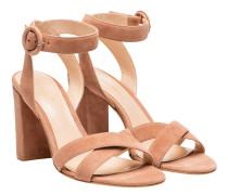 Sandalen aus Veloursleder in Nude/Beige/Weiß/Rosa