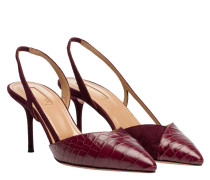 Pumps aus Leder in Bordeaux/Rosa/Rot/Violett