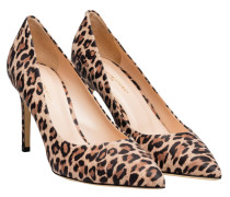 Pumps aus Leder in Leo/Braun/Gelb/Orange/Schwarz