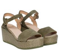 Sandalen aus Leder in Oliv/OlivGrün/Grün