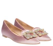 Ballerina aus Leder in Pink/Rosa/Violett
