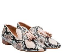 Loafer aus Leder in Snake/Grau/Schwarz