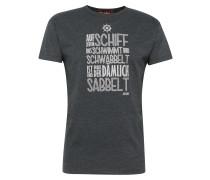 T-Shirt 'Sabbelt' dunkelgrau / weiß