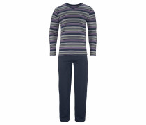 Pyjama lang marine / grau / lila / weiß