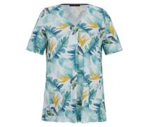 Blusenshirt marine / aqua / gelb / weiß