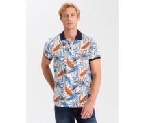 Poloshirt weiß / hellblau / orange