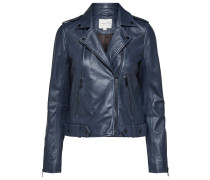 Klassische Lederjacke blau