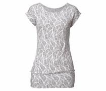 Shirt mit Feder-Print grau / schwarz