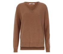 Pullover 'boxy V-Neck Destressed' braun