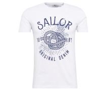 T-Shirt 'Cekema' navy / weiß